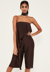 Missguided Brown Asymmetric Double Layer Culotte Jumpsuit Chocolate