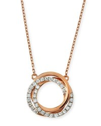 Frederic Sage Small Twist Diamond Halo Necklace In 18K Pink Gold