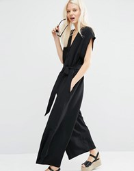 Monki Tie Waist Wide Leg Jumpsuit Black