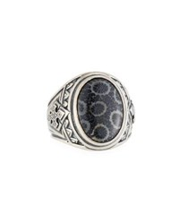 Konstantino Heonos Men's Oval Black Coral Ring Silver