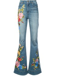 Alice Olivia Embroidered Flared Jeans Blue