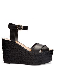 Valentino Nuevitas Cross Strap Leather Wedge Sandals Black