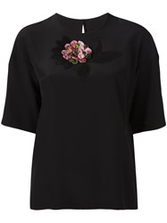 Dolce And Gabbana Flower Embroidered Top Black