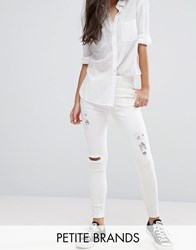 New Look Petite Ripped Skinny Jeans White