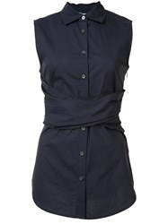 Derek Lam 10 Crosby Cross Strap Sleeveless Shirt Blue