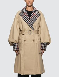 J.W.Anderson Jw Anderson Trench Coat With Check Contrast Beige