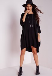 Missguided Oversized Jersey Tee Dress Black Black