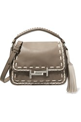 Tod's Double T Whipstitched Leather Shoulder Bag Mushroom