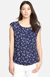 Ace Delivery Print Henley Top Navy Butterfly