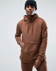 Criminal Damage Slate Tracksuit Hoodie With Curved Hem And Concealed Side Zips Brown