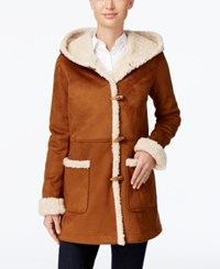 Jones New York Hooded Faux Shearling Toggle Coat Camel Ivory