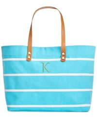 Cathy's Concepts Personalized Light Blue Striped Tote With Leather Handles K