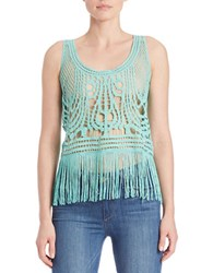 California Moonrise Fringed Crocheted Lace Tank Top Turquoise