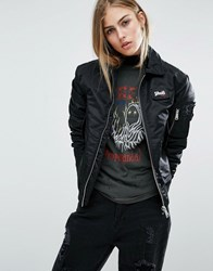 Schott Coach Bomber Jacket With Woven Badge On Front Black