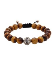Lord And Taylor Round Tiger Eye Silver Bead Bracelet Brown