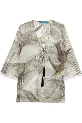 Matthew Williamson Printed Silk Crepe Top Off White