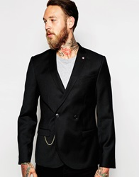 Noose And Monkey Double Breasted Flannel Wool Blazer With Gold Chain In Skinny Fit Black