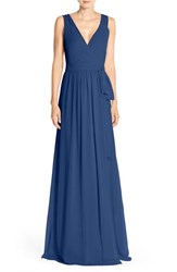Women's Ceremony By Joanna August 'Newbury' Gathered Sleeve Wrap Gown Tangled Up In Blue