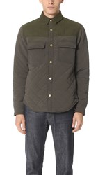 Scotch And Soda Quilted Shirt Jacket Green