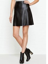 Jigsaw A Line Leather Skirt Black