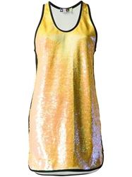 Msgm Sequin Vest Dress Yellow And Orange