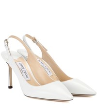 Jimmy Choo Erin 85 Leather Sling Back Pumps White