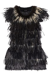 Isabel Marant Cadzi Feather And Faux Raffia Vest Black