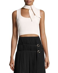 Cinq A Sept Esme Tie Neck Sleeveless Crop Top Pink