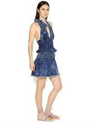 Chloe Washed Stretch Cotton Denim Halter Dress