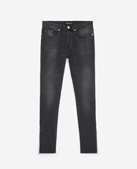 The Kooples Leather Faded Grey Jeans With Pocket