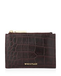 Whistles Shiny Croc Embossed Coin Case Burgundy