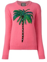 Fausto Puglisi Embroidered Palm Tree Jumper Pink And Purple