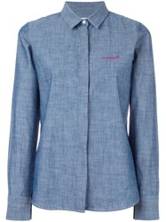 Maison Labiche Embroidered Denim Shirt Blue