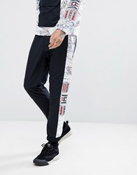 Jaded London Joggers In Black With Map Print Black