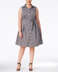 Charter Club Plus Size Gingham Belted Fit And Flare Shirt Dress Only At Macy's Deep Black Combo