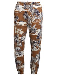 Etro Gazebo Tree Print Linen Trousers Brown Multi
