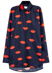 Victoria Beckham Scattered Lips Navy Printed Silk Shirt