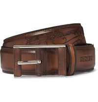 Berluti 3.5Cm Tan Scritto Leather Belt Brown