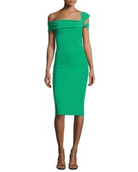 La Petite Robe Di Chiara Boni Laia One Shoulder Stretch Jersey Cocktail Dress Emerald Green