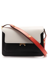 Marni Trunk Medium Saffiano Leather Shoulder Bag White Black