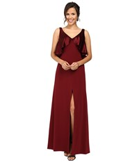 Jill Stuart Satin Back Crepe Gown With Cape Detail At Neck Oxblood Women's Dress Red