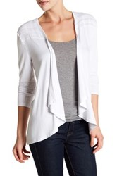 Cable And Gauge Draped Front Cardigan White