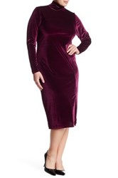 White Label By Rachel Pally Turtleneck Long Sleeve Velvet Dress Plus Size Red