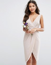 Tfnc Wedding Wrap Midi Dress With Bow Back Wisper Pink