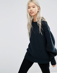 Weekday Retro Knit Jumper Navy