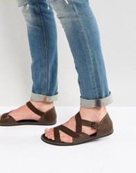 Asos Sandals In Brown Leather With Tape Straps