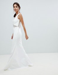 Forever Unique Embellished Beaded Maxi Dress White