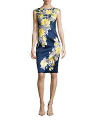 Kay Unger Lace Trimmed Floral Sheath Dress Navy Multi
