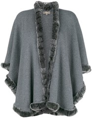 N.Peal Rabbit Fur Trim Cape Grey