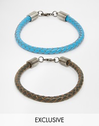 Simon Carter Leather Bracelet Pack Exclusive To Asos Blue